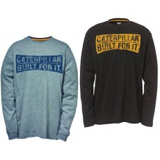 Caterpillar Curved Banner Tee Shirt Long Sleeved