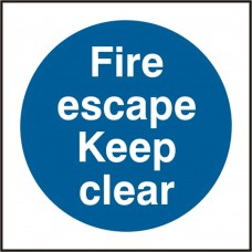Fire escape Keep clear Safety sign (5 PK)