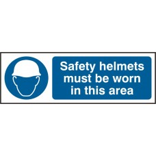 Safety helmets must be worn in this area Safety sign (5 PK)