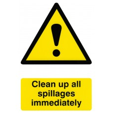 Clean up all spillages immediately Safety Sign