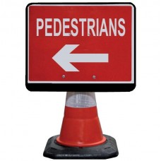 Portacone Sign Black Pedestrian Left/Right