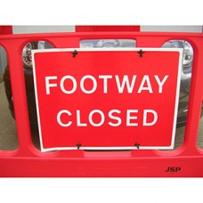 Footway Closed Barrier Sign Pack of 10