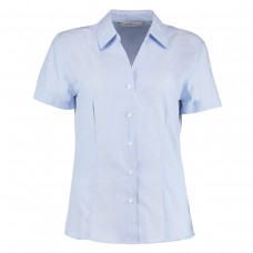Kustom Kit Ladies' Pinstripe Short Sleeve Shirt