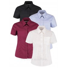 Kustom Kit Ladies Short Sleeve Corporate Pocket Oxford Shirt