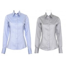 Kustom Kit Ladies Contrast Premium Oxford Long Sleeve Shirt