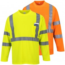 Portwest H-Viz Long Sleeved Pocket T-Shirt